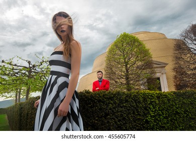 Luxury stylish couple outside