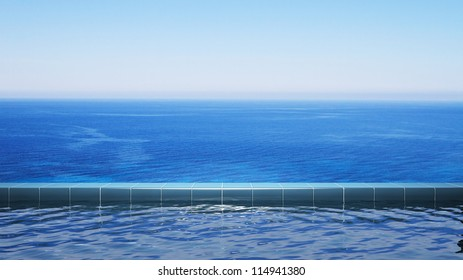 Luxury swimming pool in front of the sea