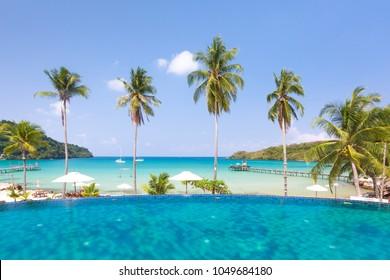 Luxury swimming pool near the sea.