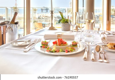 luxury table in restaurant