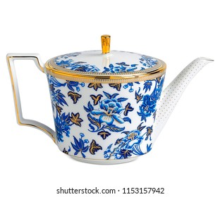luxury teapot, high resolution image, White teapot with flower pattern