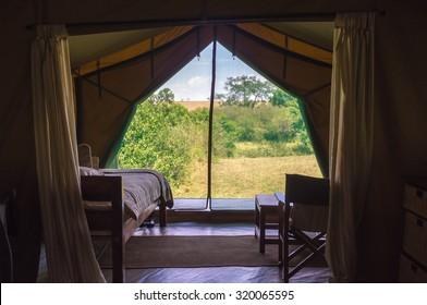 A luxury tent seen from inside in Kenya, Africa