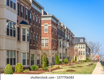 Luxury townhouses in Washington DC National Harbor Potomac Overlook with Brick facade and French style mansard roof