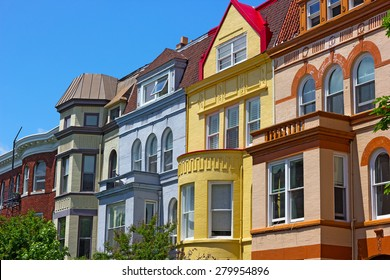 Luxury townhouses of Washington DC, USA. Colorful townhouses near Dupont Circle in Washington DC.