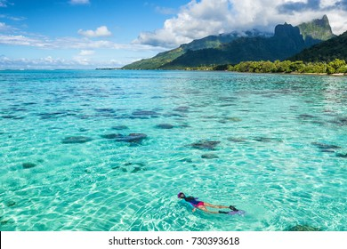 Luxury travel vacation tourist woman snorkeling in Tahiti ocean, Moorea island, French Polynesia. Snorkel swim girl swimming in crystalline waters and coral reefs.