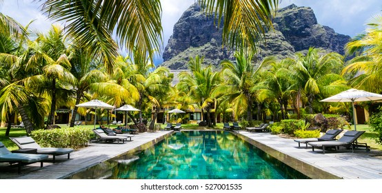 Luxury tropical vacation. Spa swimming pool in luxury resort in Le Morne, Mauritius island