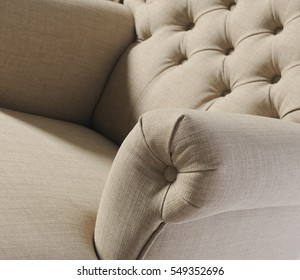 Luxury upholstered furniture, comfortable, stylish, attractive colors, isolated on white background