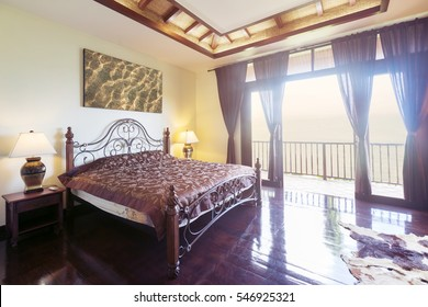 Luxury Villa bedroom Interior design with balcony and sea view