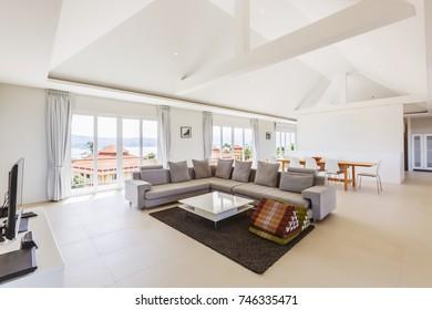 Luxury villa living room interior in white color