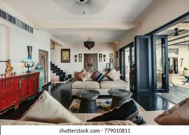 Luxury villa living room interior. Sea view