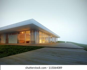 Luxury villa on the hillside in fog 3D