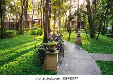 Luxury Villa Resort Interior.The resort gardens, trees, nature