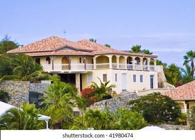 Luxury villa St Maarten tropical island .