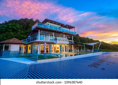 Luxury villas on the hillside are very popular on Koh Samui. The evening of the twilight 19th May 2018 Surat Thani Thailand