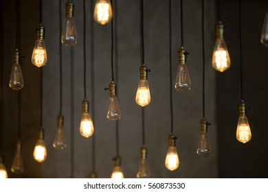 Luxury vintage light bulb background with bokeh