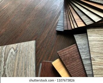 Luxury Vinyl floor tile or rubber flooring sample stack for interior design idea
