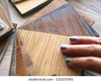 Luxury vinyl sample stack wood texture for customer and interior designer