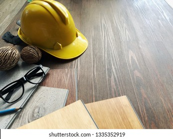 Luxury vinyl wood planks floor tiles preparing to laying to decorate home design concept