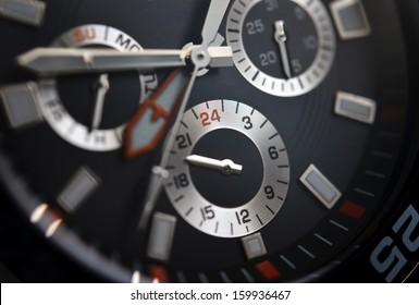 Luxury watch, chronograph closeup