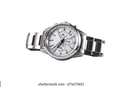 luxury watch isolated with clipping path on a white background. For design.