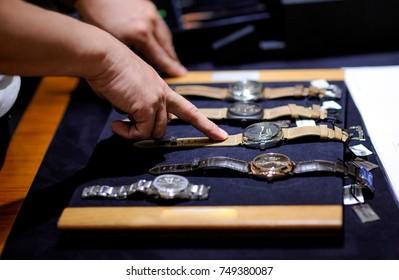 Luxury watch in shop