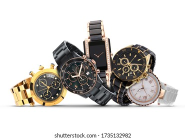 Luxury watches isolated on white background. With clipping path. Gold watch. Women and man watches. Female and male watches.