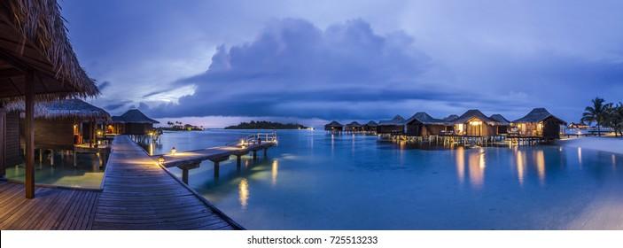 Luxury water villa panorama at Twilight/Evening time, Maldives