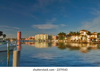 luxury waterfront development of homes, docks, condominiums and hotels in boca raton, florida