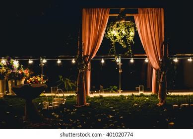 Luxury wedding outside evening decoration