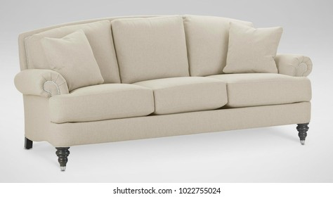 Luxury white classic sofa, isolated, furniture