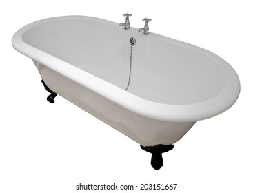 Luxury white flat rim roll top clawfoot bathtub isolated against a white background