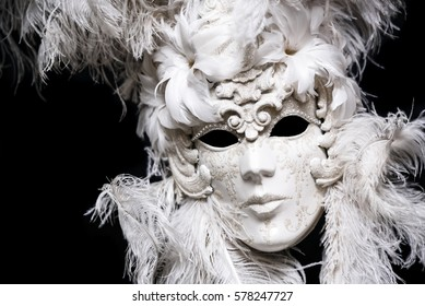 Luxury white and gold festival masquerade mask. Venetian tradition mask.