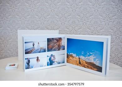 Luxury white leather wedding photo album and photo book