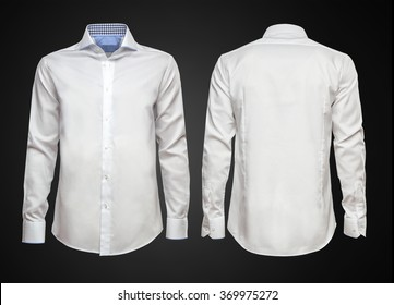 Luxury white shirt on dark background. Businessman clothes