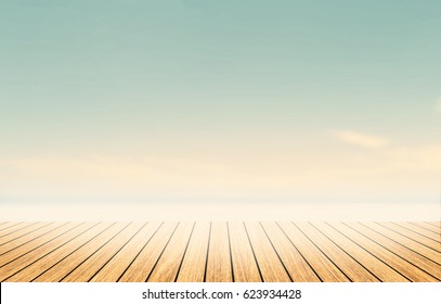 Luxury wide table top wood on summer sunset beach nature background. Simple kitchen shelf on blurry images backdrop bacground light gradient wallpaper concept for product montage mockup scene.