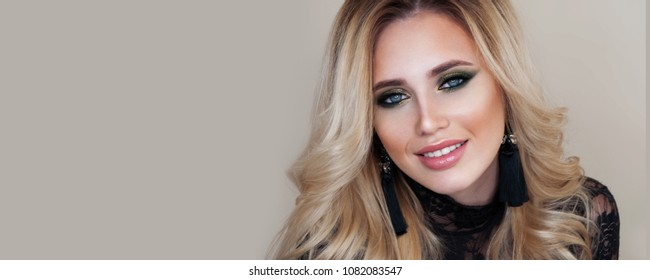 Luxury woman portrait with perfect hair and make-up blonde