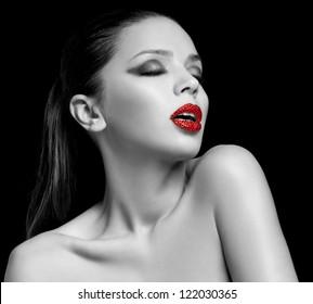 Luxury woman with rhinestones on her lips