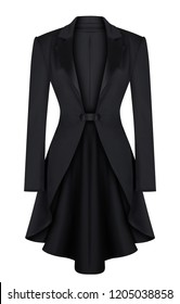 Luxury women's classic evening jacket, black, with a turndown satin collar, clipping, isolated on white background, ghost mannequin