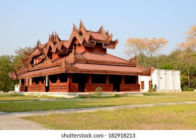 Luxury Wood Building in Ancient Myanmar Art Style, a Part of Mandalay palace, the Historic Landmark of Mandalay City in Myanmar.