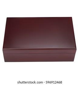 Luxury wooden box, On isolated white background