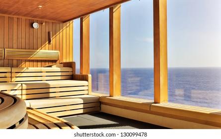 luxury wooden sauna