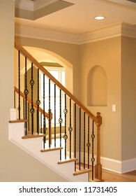 Luxury wrought iron Staircase in elegant home