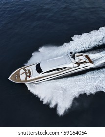 luxury yacht, aerial view