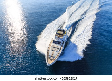 luxury yacht, aerial view italian shipyard