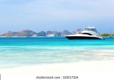 Luxury yacht at the beach of archipelago Los Roques, Venezuela