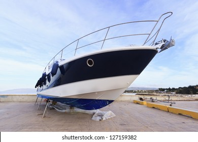 Luxury yacht beached for annual service and repaint