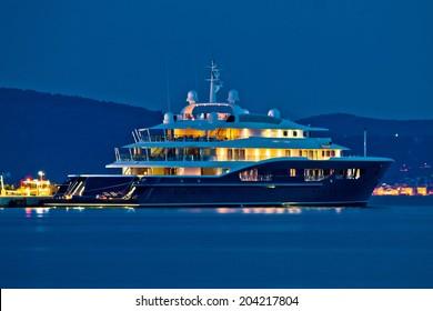 Luxury yacht blue evening view on mediterranean coast