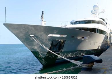 Luxury yacht docked In dock