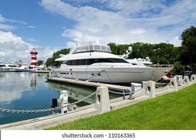 Luxury yacht in harbor. Hilton Head Island, SC