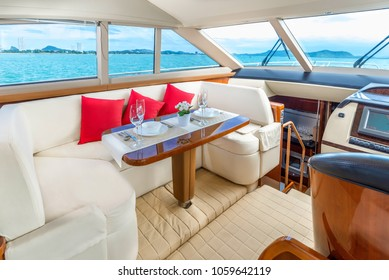 Luxury yacht interior comfortable cabin expensive wooden design for holiday recreation tourism or travel and vacation concept
